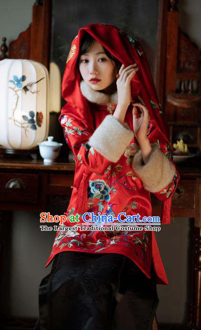 Chinese Traditional Wedding Red Silk Cotton Padded Coat Tang Suit Embroidered Jacket for Women