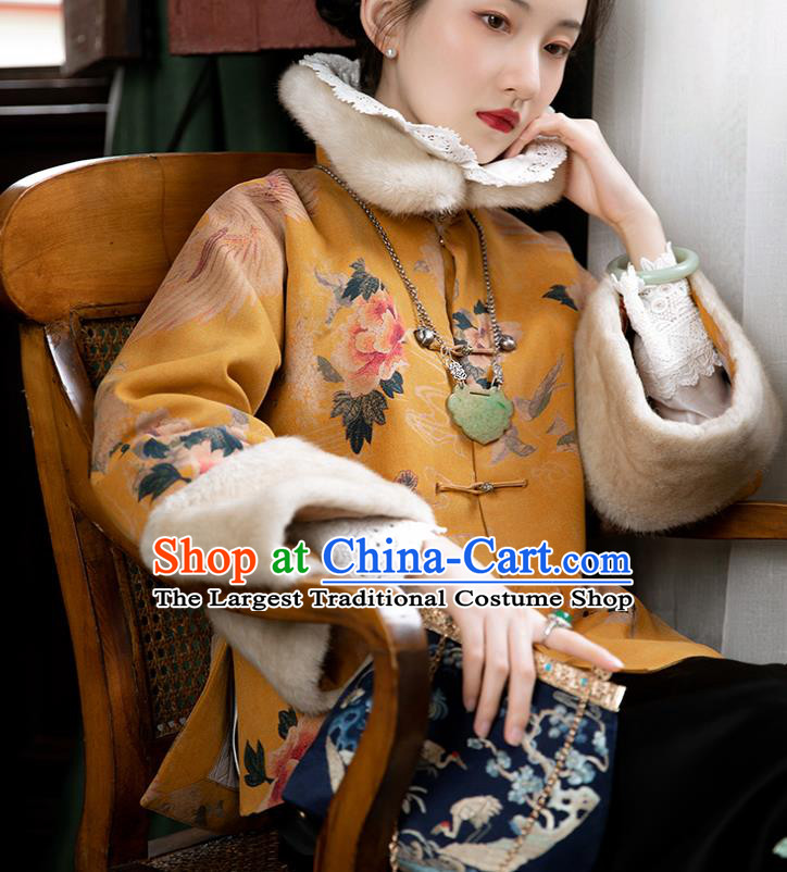Chinese Traditional Mandarin Jacket Tang Suit Outer Garment Yellow Silk Cotton Padded Coat for Women