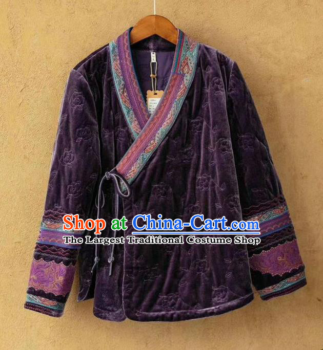 China Traditional Winter Costume Women Tang Suit Embroidered Over Coat National Purple Velvet Cotton Padded Jacket