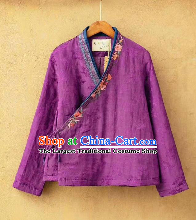 China Traditional Embroidered Winter Costume National Purple Flax Cotton Padded Jacket Women Tang Suit Over Coat