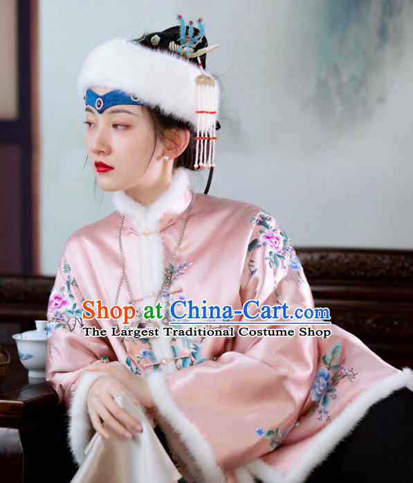 Chinese Qing Dynasty Noble Lady Pink Cotton Padded Jacket Traditional Embroidered Silk Coat for Women