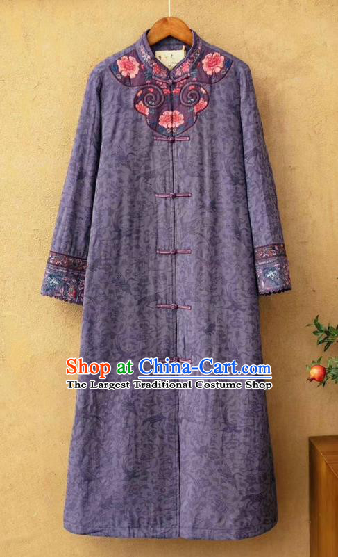 China National Violet Flax Cotton Padded Coat Traditional Embroidered Winter Costume Tang Suit Women Dust Coat