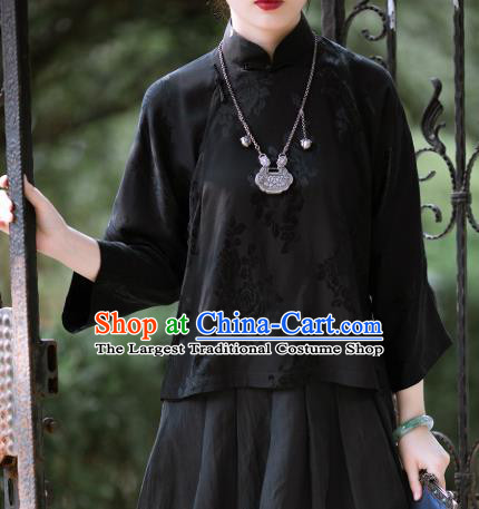 Chinese Traditional Black Silk Blouse Tang Suit Upper Outer Garment National Shirt for Women
