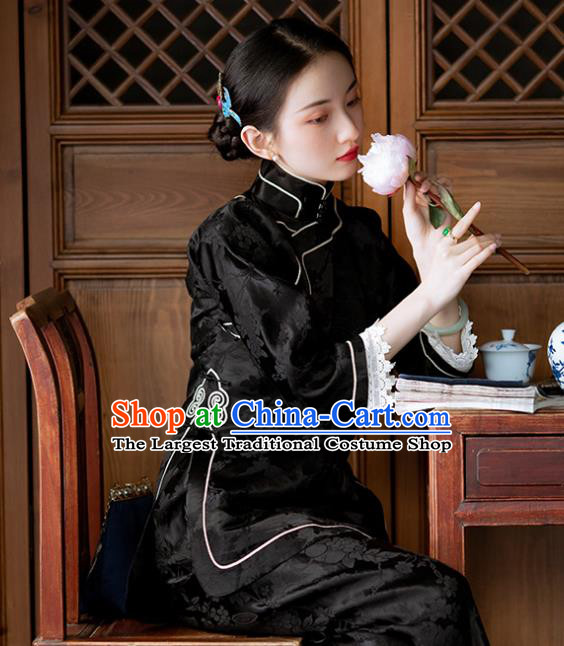 Chinese Tang Suit Upper Outer Garment National Shirt Traditional Black Silk Blouse for Women
