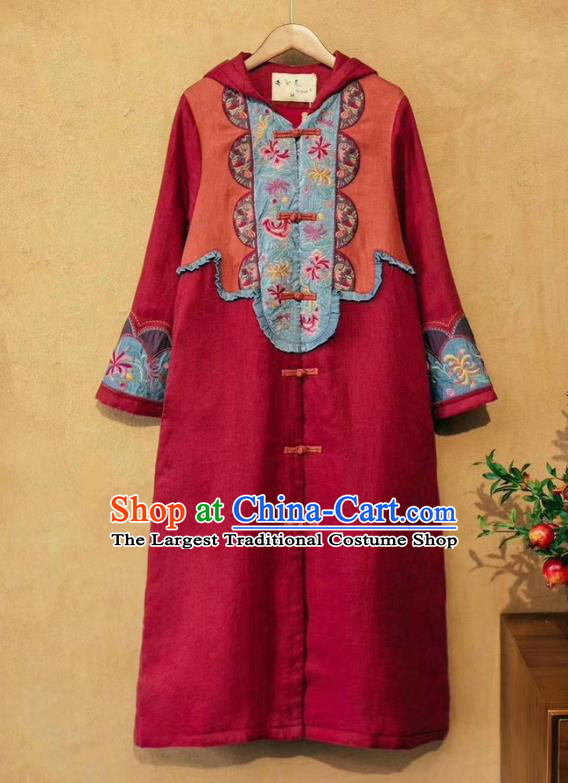 China Tang Suit Women Wine Red Flax Dust Coat Traditional Costume National Outer Garment Long Coat