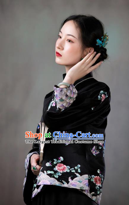 Chinese Tang Suit Outer Garment National Clothing Traditional Black Silk Embroidered Mandarin Jacket for Women