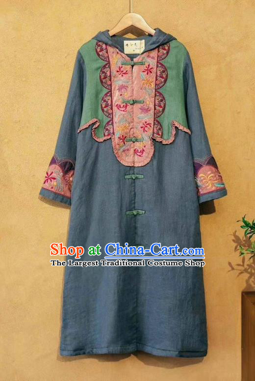 China National Outer Garment Long Coat Tang Suit Women Blue Flax Dust Coat Traditional Embroidered Costume