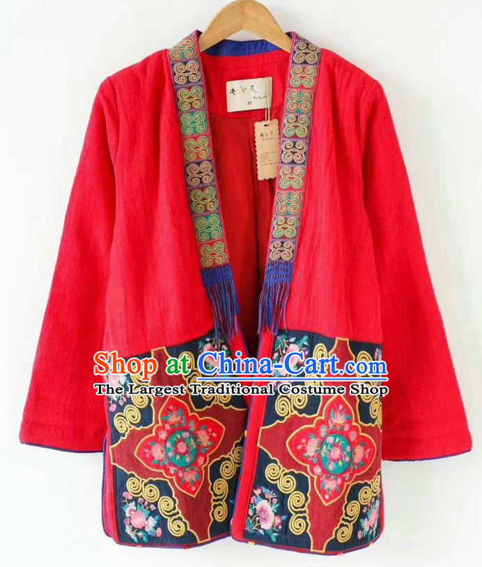 China National Red Flax Jacket Women Coat Traditional Embroidered Costume Tang Suit Outer Garment