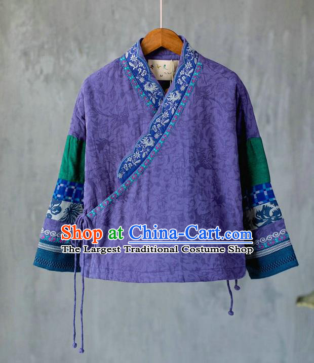 China National Purple Flax Quilted Jacket Women Winter Coat Traditional Embroidered Tang Suit Outer Garment Costume