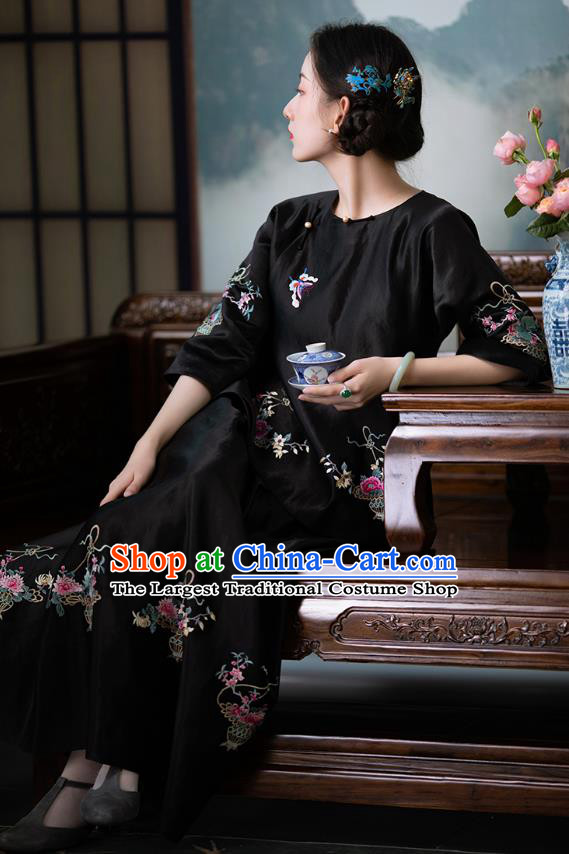 Chinese Traditional Embroidered Black Silk Shirt National Clothing Tang Suit Upper Outer Garment Blouse for Women