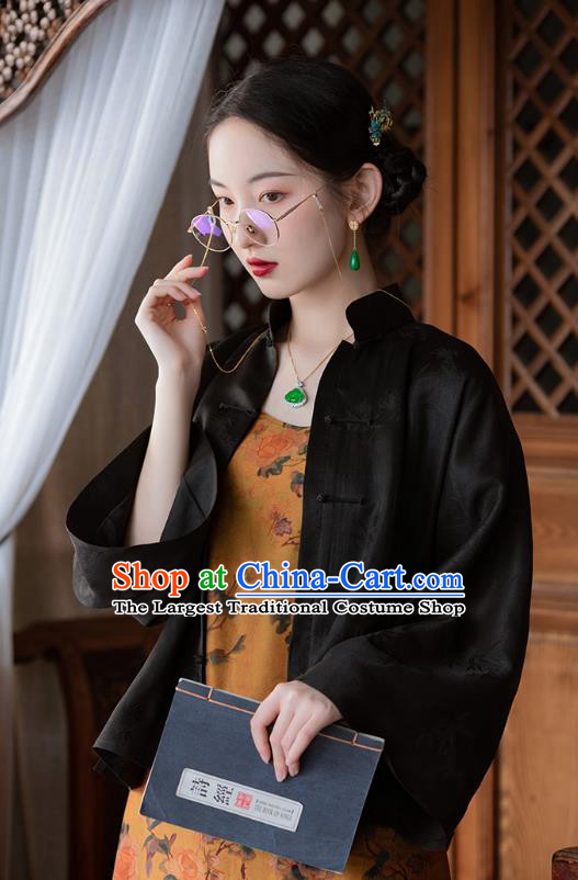 Chinese Traditional Clothing Classical Black Silk Blouse Tang Suit Upper Outer Garment National Shirt for Women