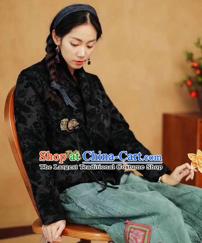 China Tang Suit Outer Garment Costume National Women Winter Jacket Traditional Black Flocking Coat