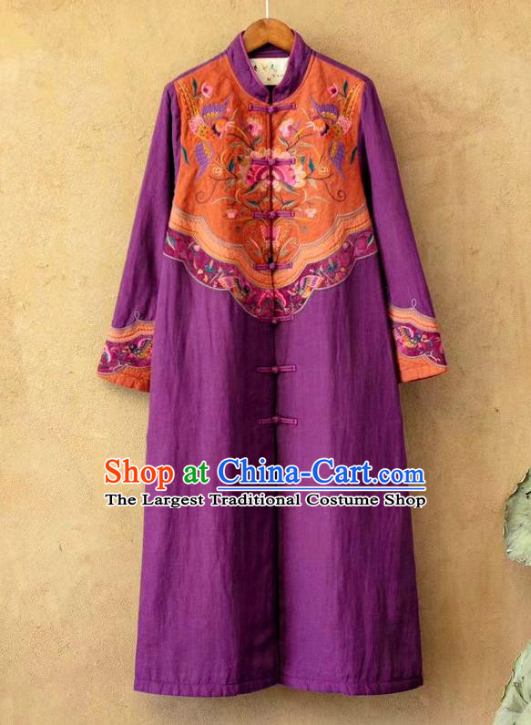 China National Embroidered Purple Flax Dust Coat Traditional Winter Costume Tang Suit Women Overcoat