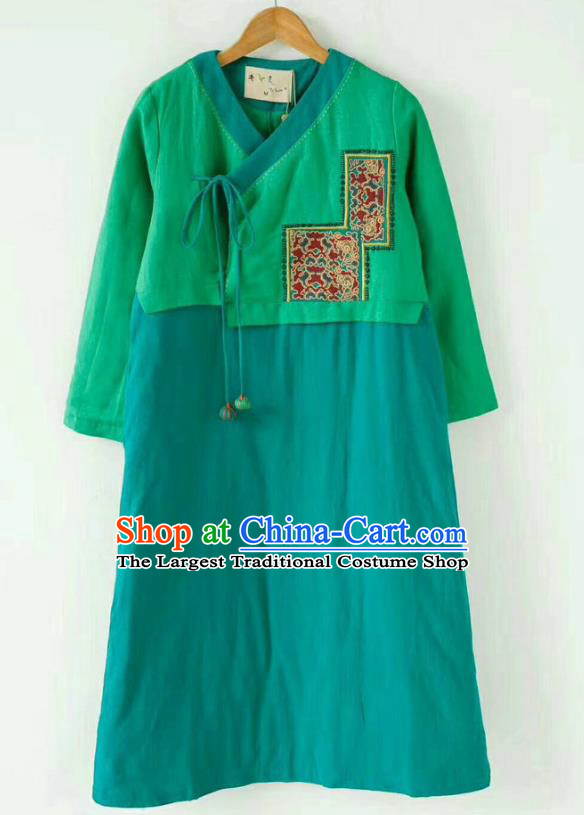 China Tang Suit Green Cotton Padded Coat Winter Outer Garment Costume National Women Traditional Coat