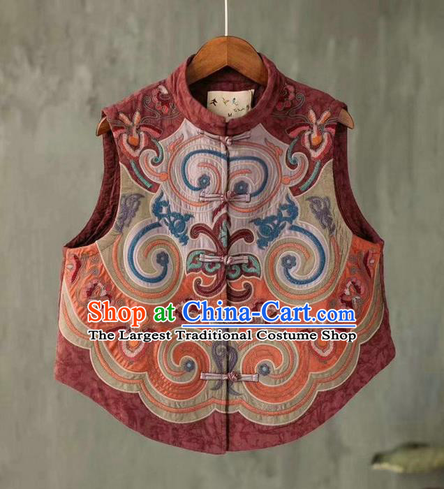 China National Embroidered Purplish Red Waistcoat Women Flax Vest Traditional Tang Suit Upper Outer Garment Clothing