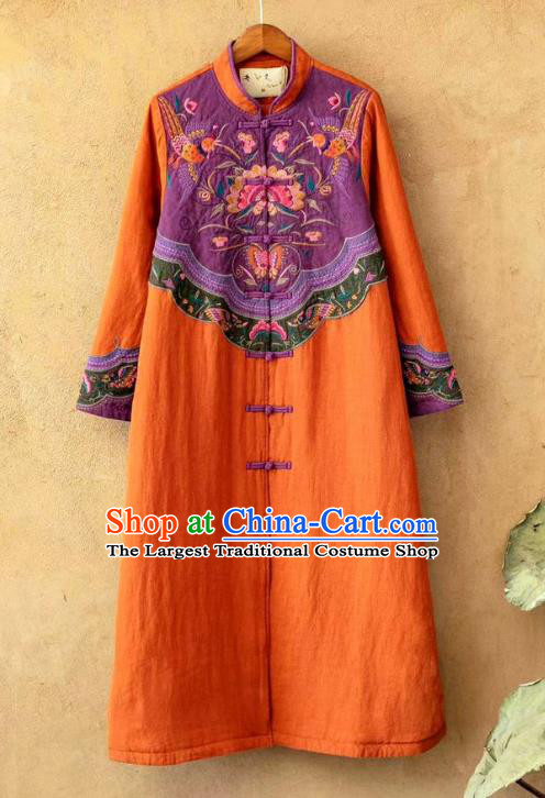 China Tang Suit Women Overcoat National Embroidered Orange Flax Dust Coat Traditional Winter Costume