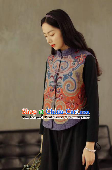 China National Women Vest Embroidered Waistcoat Traditional Tang Suit Upper Outer Garment Lilac Flax Clothing