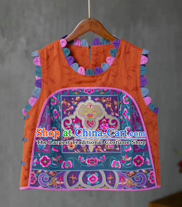 China Traditional Upper Outer Garment Clothing National Women Embroidered Waistcoat Tang Suit Orange Flax Vest