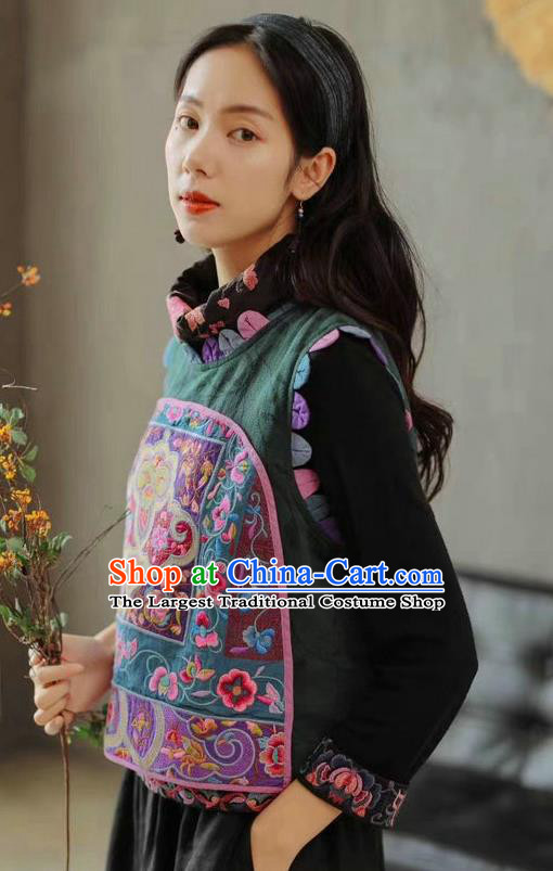 China Traditional Tang Suit Green Flax Vest Upper Outer Garment Clothing National Women Embroidered Waistcoat