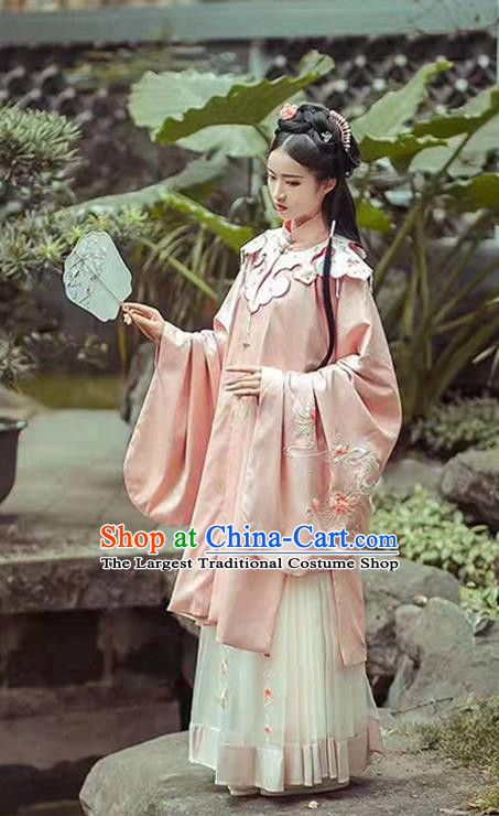 China Ancient Ming Dynasty Palace Lady Pink Hanfu Dress Traditional Court Princess Clothing