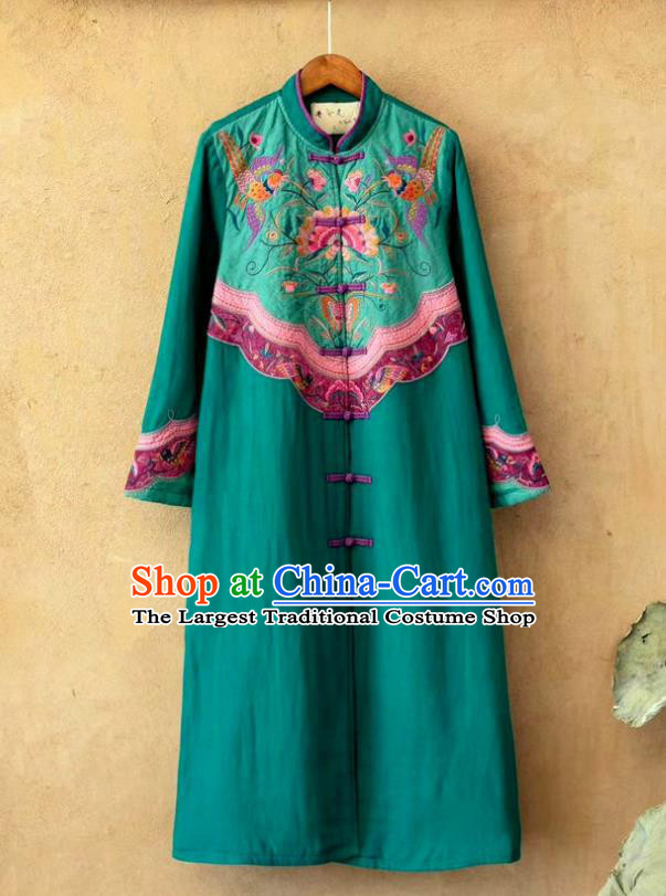 China Traditional Winter Costume Tang Suit Women Overcoat National Embroidered Green Flax Dust Coat