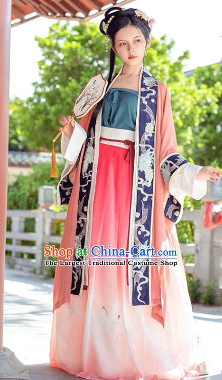 China Ancient Patrician Female Embroidered Hanfu Dress Traditional Song Dynasty Noble Lady Clothing