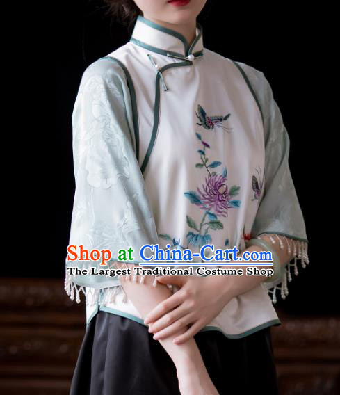 Chinese Tang Suit Embroidered Shirt National Upper Outer Garment Traditional Classical Silk Blouse for Women