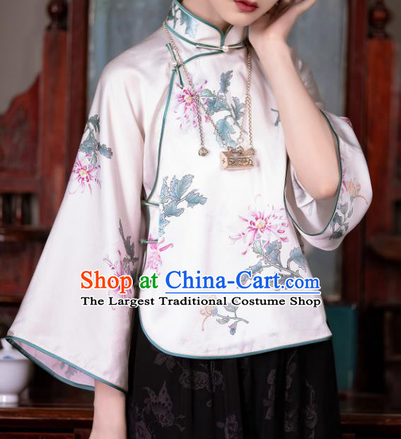 Chinese Traditional Printing Chrysanthemum White Silk Blouse Tang Suit Upper Outer Garment National Shirt for Women