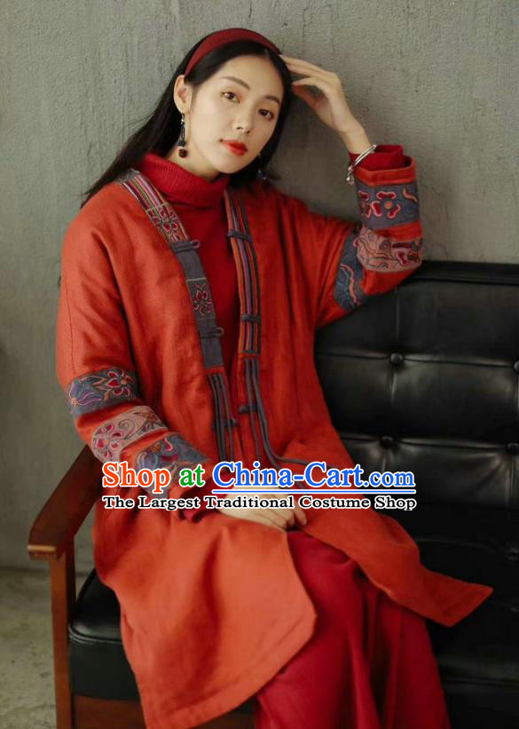 China National Embroidered Cotton Padded Coat Traditional Winter Costume Tang Suit Women Red Overcoat