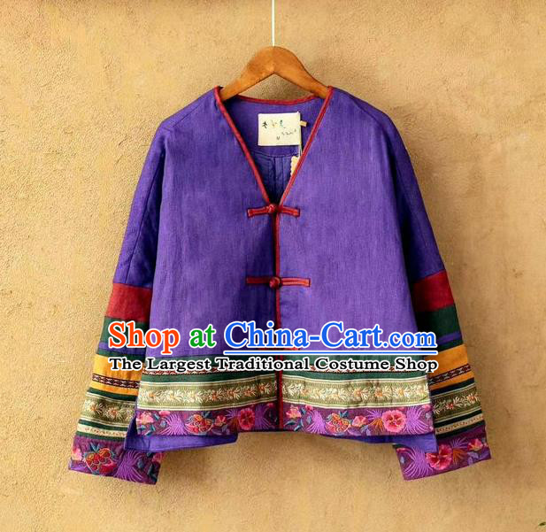 China National Purple Flax Cotton Padded Jacket Traditional Winter Costume Women Tang Suit Embroidered Coat