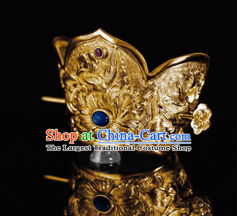 China Tang Dynasty Female Swordsman Hair Stick Ancient Peony Hair Accessories Traditional Gilding Hair Crown