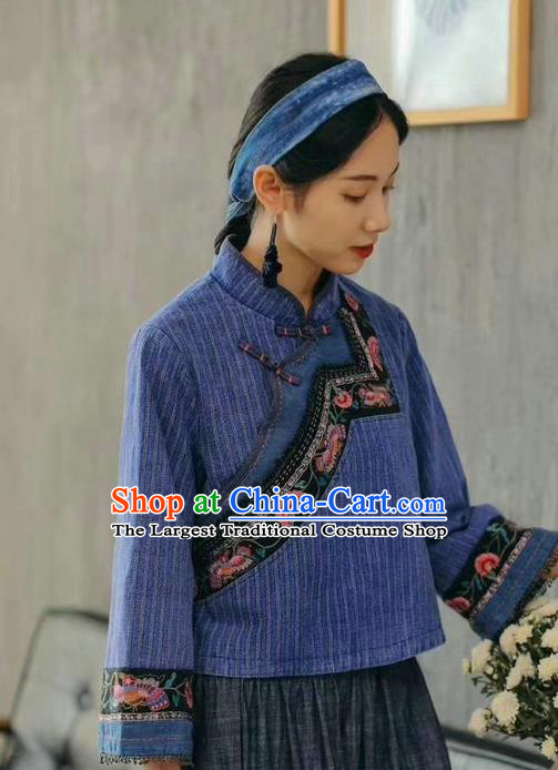 China National Women Blue Flax Shirt Traditional Classical Costume Tang Suit Embroidered Cheongsam Upper Outer Garment