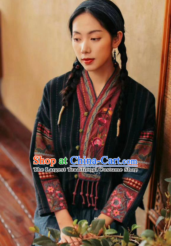 China Traditional Classical Costume Tang Suit Embroidered Cheongsam Upper Outer Garment National Women Black Flax Shirt