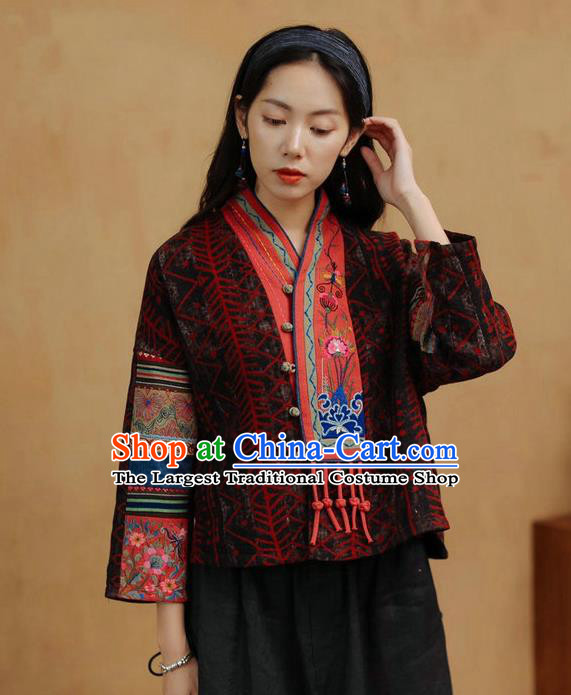 China Traditional Tang Suit Costume Embroidered Cheongsam Upper Outer Garment National Women Brown Flax Jacket