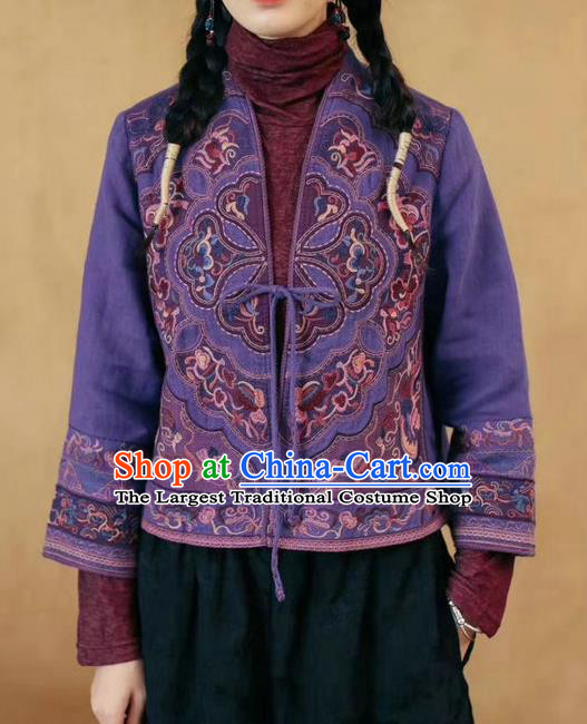 China National Embroidered Purple Flax Jacket Traditional Women Outer Garment Tang Suit Costume