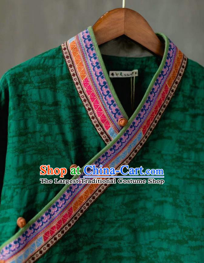 China Traditional Women Upper Outer Garment National Embroidered Shirt Tang Suit Green Flax Blouse Costume