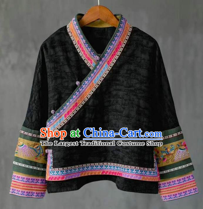 China National Embroidered Shirt Costume Traditional Women Upper Outer Garment Tang Suit Black Flax Blouse