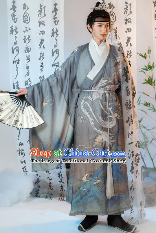 Ancient China Swordsman Embroidered Costumes Traditional Ming Dynasty Noble Childe Hanfu Clothing Grey Robe for Men