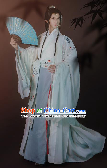 Ancient China Swordsman Clothing Traditional Hanfu Apparels Jin Dynasty Nobility Childe Historical Costumes for Men
