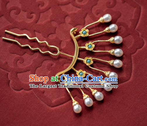 China Ming Dynasty Pearls Hair Clip Traditional Hanfu Hair Accessories Ancient Princess Gilding Hairpin Hair Stick