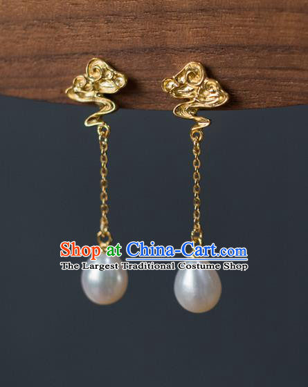 China Traditional Ming Dynasty Pearls Earrings Ancient Court Empress Golden Cloud Ear Jewelry Accessories