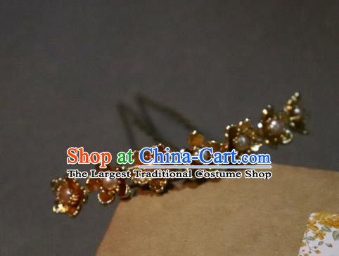 China Ancient Princess Golden Plum Hairpin Handmade Hair Accessories Traditional Ming Dynasty Pearls Hair Clip