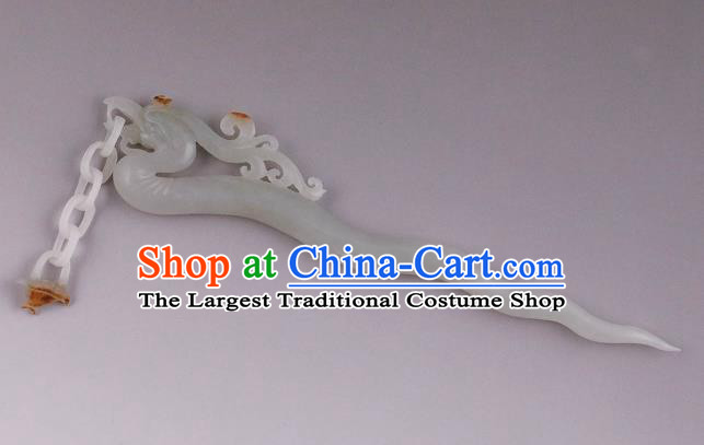 China Ancient Princess Jade Carving Phoenix Hairpin Handmade Hair Accessories Traditional Song Dynasty Hair Stick