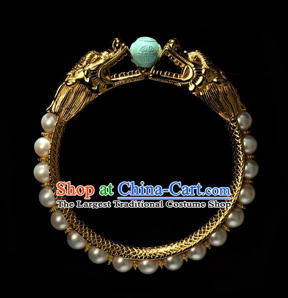 Chinese Traditional Qing Dynasty Pearls Jewelry Ancient Noble Lady Bracelet Gilding Accessories