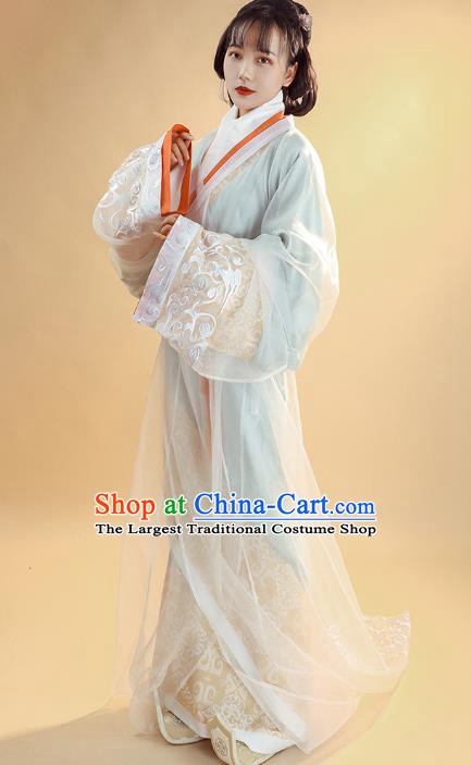 China Ancient Palace Lady Historical Clothing Han Dynasty Court Woman Costumes Traditional Hanfu Curving Front Robe