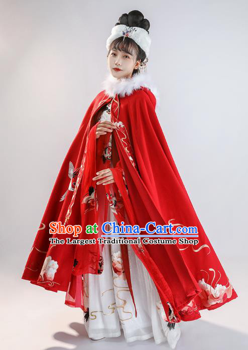 China Ancient Noble Woman Historical Clothing Traditional Hanfu Cape Ming Dynasty Court Princess Embroidered Red Cloak