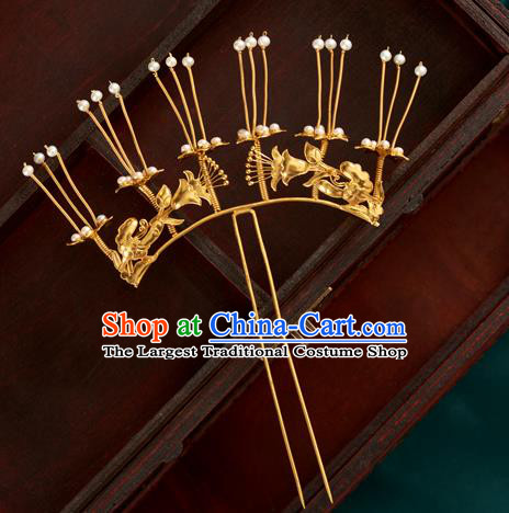 China Handmade Pearls Hair Clip Ancient Imperial Consort Golden Hairpin Traditional Ming Dynasty Hair Accessories