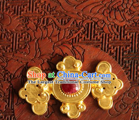China Ancient Costume Golden Buckle Handmade Ming Dynasty Gilding Button Snap Fastener