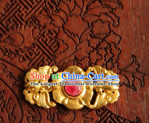 China Handmade Ming Dynasty Snap Fastener Gilding Button Ancient Costume Golden Buckle