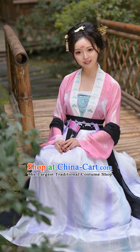 China Ancient Country Girl Historical Clothing Traditional Tang Dynasty Young Lady Hanfu Dress Garment